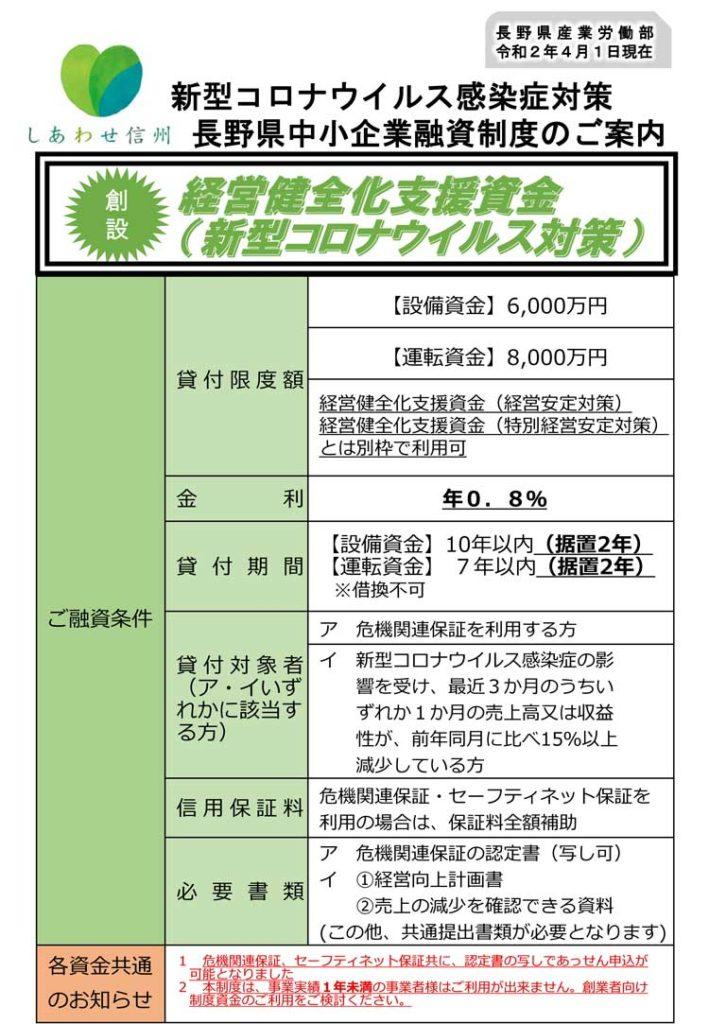 新型コロナウイルス感染症対策長野県中小企業融資制度のご案内